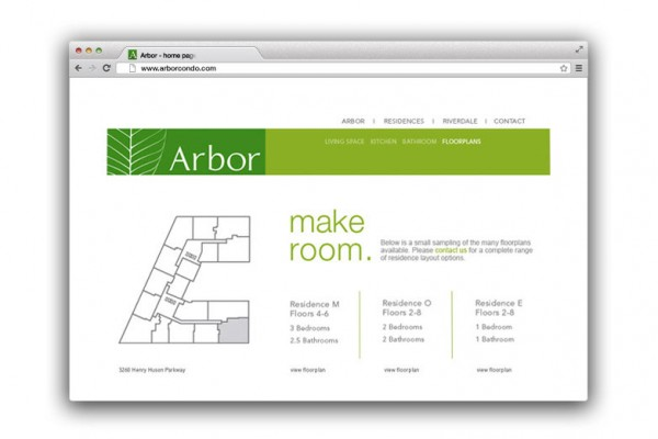 identity, brand identity, identity design, logo, logo design, advertising, advertisement, ad campaign, print campaign, outdoor campaign, online campaign, search marketing campaign, print brochure, property brochure, Arbor, Arbor condominium, Kellyco, Kellyco Marketing
