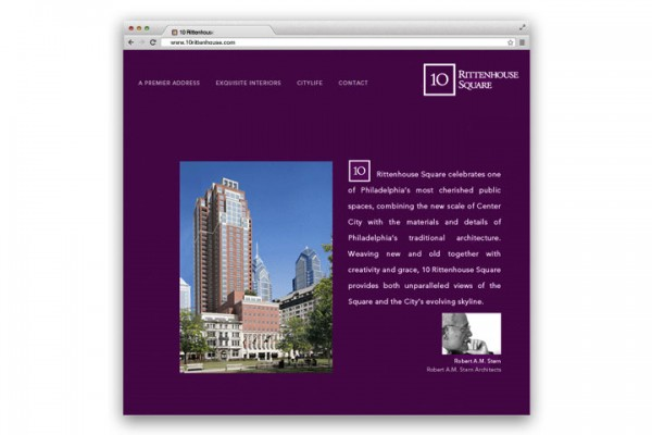 branding, brand identity, advertising, brochure design, collateral design, sales office graphics, real estate marketing, condominium marketing, graphic design, design, copywriting, advertising, ad campaign, print advertising, outdoor advertising, online advertising, search marketing campaign, Kellyco, Kellyco Marketing, 10 Rittenhouse Square, Robert A.M. Stern