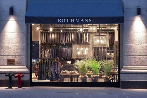 Designed identity for New York menswear store. Modernized identity was implemented with opening of new Manhattan location featuring both an expanded inventory of stylish business attire and contemporary casual labels. Identity utilized across signage, packaging and tag systems | Rothmans | Rothmans New York | menswear, retail, men
